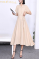 Beige Collared Midi Button Down Ribbon Dress for Casual Party Office