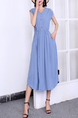 Blue V Neck Midi Button Down Dress for Casual Party Office Evening
