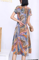 Colorful Fit & Flare Knee Length Plus Size Dress for Casual Party Office