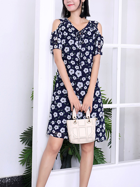 Blue and White V Neck Above Knee Plus Size Floral Dress for Casual Party Office Evening