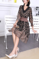 Brown and Black Fit & Flare Above Knee Lace Dress for Casual Party Office Evening