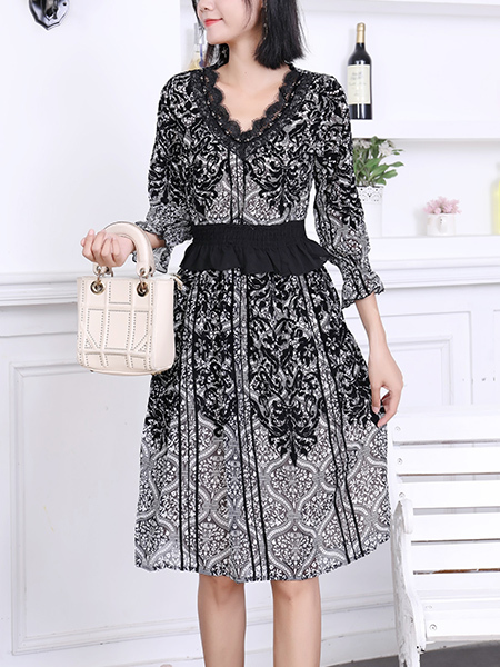 Black and White Fit & Flare Above Knee Lace Dress for Casual Party Office Evening