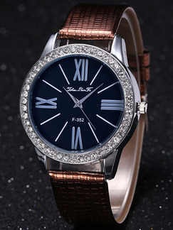 Brown Leather Band Bracelet Quartz Watch