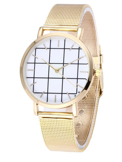 Gold Stainless Steel Band Bracelet Quartz Watch