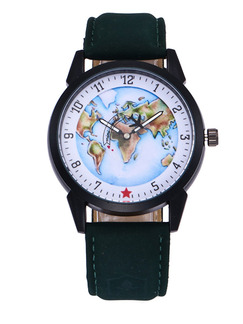 Green Leather Band Bracelet Quartz Watch