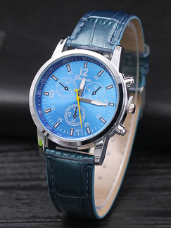 Blue Leather Band Bracelet Quartz Watch
