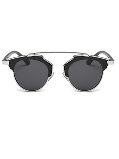Black Solid Color Metal and Plastic Round Sunglasses