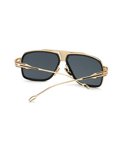 Black Solid Color Metal Rectangle Sunglasses