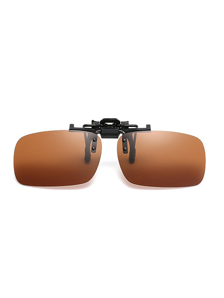 Brown Gradient Plastic Polarized Clip-on Rectangle Sunglasses