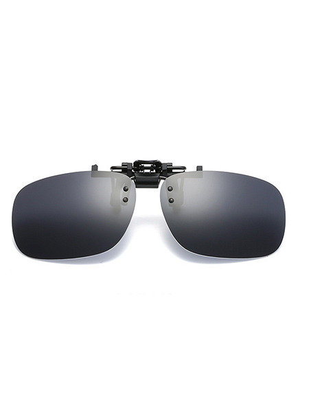 Black Gradient Plastic Polarized Clip-on Rectangle Sunglasses