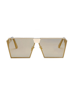 Gold Solid Color Metal and Plastic Polarized Irregular Sunglasses