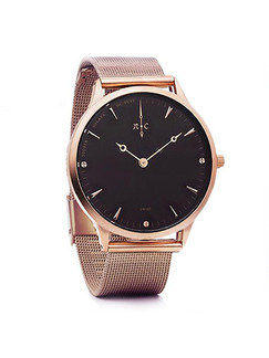 Brown Stainless Steel Band Bracelet Quartz Watch