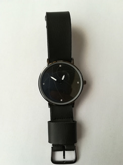 Black Leather Band Bracelet Quartz Watch