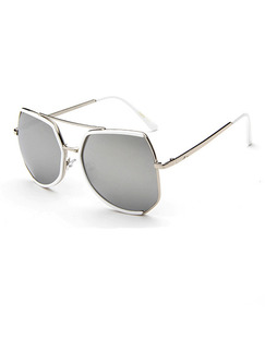 Black Solid Color Metal and Plastic Irregular Sunglasses