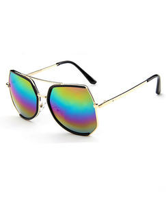 Multi-Color Gradient Metal and Plastic Irregular Sunglasses