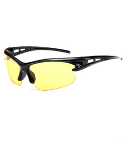 Yellow Solid Color Plastic Ride Wrap Sunglasses