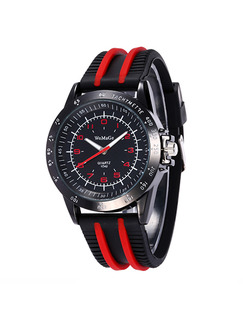 Black and Red Rubber Band Bracelet Quartz Watch