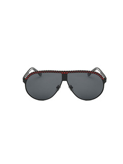 Black Solid Color Metal and Plastic Polarized Sunglasses