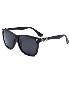Black Solid Color Metal and Plastic Polarized Square Sunglasses