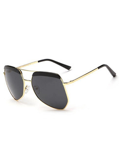 Black Solid Color Metal and Plastic Polarized Irregular Sunglasses
