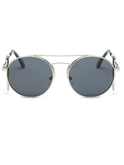Black Solid Color Metal and Plastic Trendy Round Sunglasses