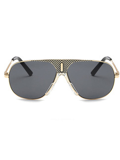 Black Solid Color Metal and Plastic Trendy Sunglasses