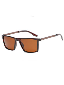 Brown Solid Color Plastic and Metal Polarized Square Sunglasses