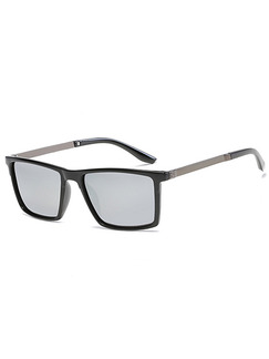 Gray Solid Color Plastic and Metal Polarized Square Sunglasses