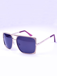 Purple Solid Color Metal and Plastic Square Sunglasses