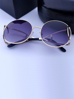 Purple Solid Color Metal and Plastic Round Sunglasses