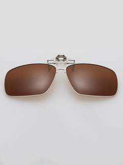 Brown Solid Color Metal Polarized Clip-on Sunglasses