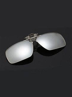 Gray Solid Color Metal Polarized Clip-on Sunglasses