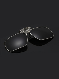 Black Solid Color Metal Polarized Clip-on Sunglasses
