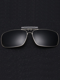 Black Solid Color Metal and Plastic Polarized Clip-on Sunglasses