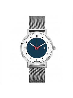 Black and White Stainless Steel Band Bracelet Quartz Watch