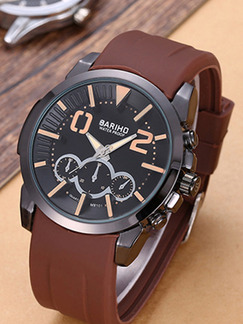 Brown Rubber Band Bracelet Quartz Watch