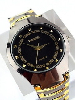 Silver and Gold Stainless Steel Band Bracelet Quartz Watch