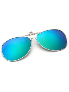 Blue and Green Gradient Metal and Plastic Polarized Clip-on Aviator Sunglasses