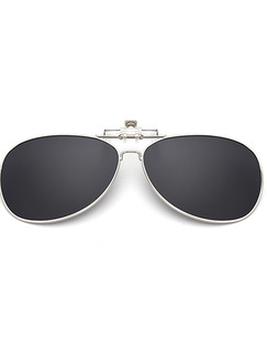 Black Solid Color Metal Polarized Clip-on Aviator Sunglasses
