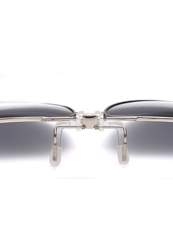 Silver and Brown Gradient Metal  Polarized Clip-on Aviator Sunglasses