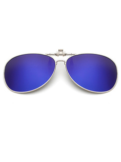 Blue Gradient Metal  Polarized Clip-on Aviator Sunglasses