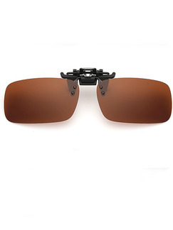 Brown Solid Color Plastic Polarized Clip-on Rectangle Sunglasses