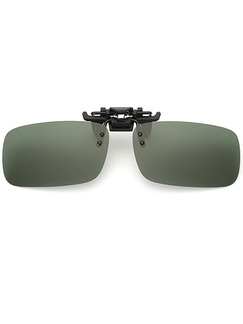 Green Solid Color Plastic Polarized Clip-on Rectangle Sunglasses