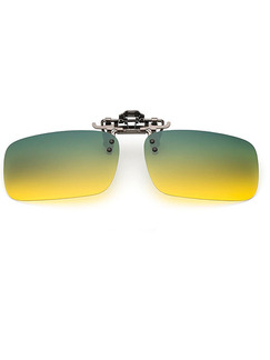 Green and Yellow Gradient Metal Polarized Clip-on Rectangle Sunglasses