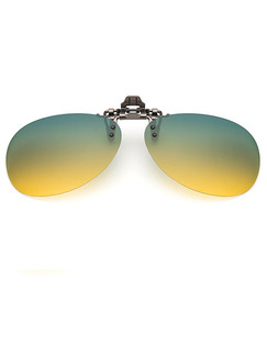 Green and Yellow Gradient Metal Polarized Clip-on Aviator Sunglasses