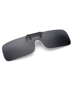 Black Solid Color Plastic Polarized Clip-on Rectangle Sunglasses