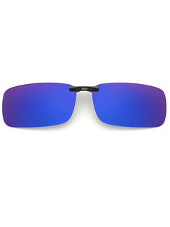 Blue Gradient Plastic Polarized Clip-on Rectangle Sunglasses