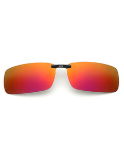 Orange and Red Gradient Mirror Plastic Polarized Clip-on Rectangle Sunglasses