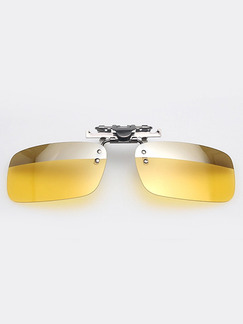 Yellow and Silver Solid Color Metal Polarized Clip-on Trendy Rectangle Sunglasses