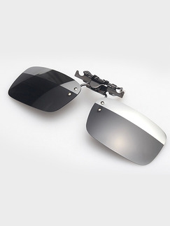 Black and Silver Solid Color Metal Polarized Clip-on Trendy Rectangle Sunglasses